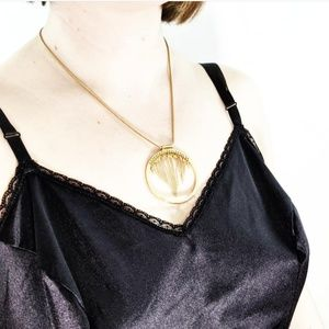 Vintage Gold Dangle Pendant Necklace